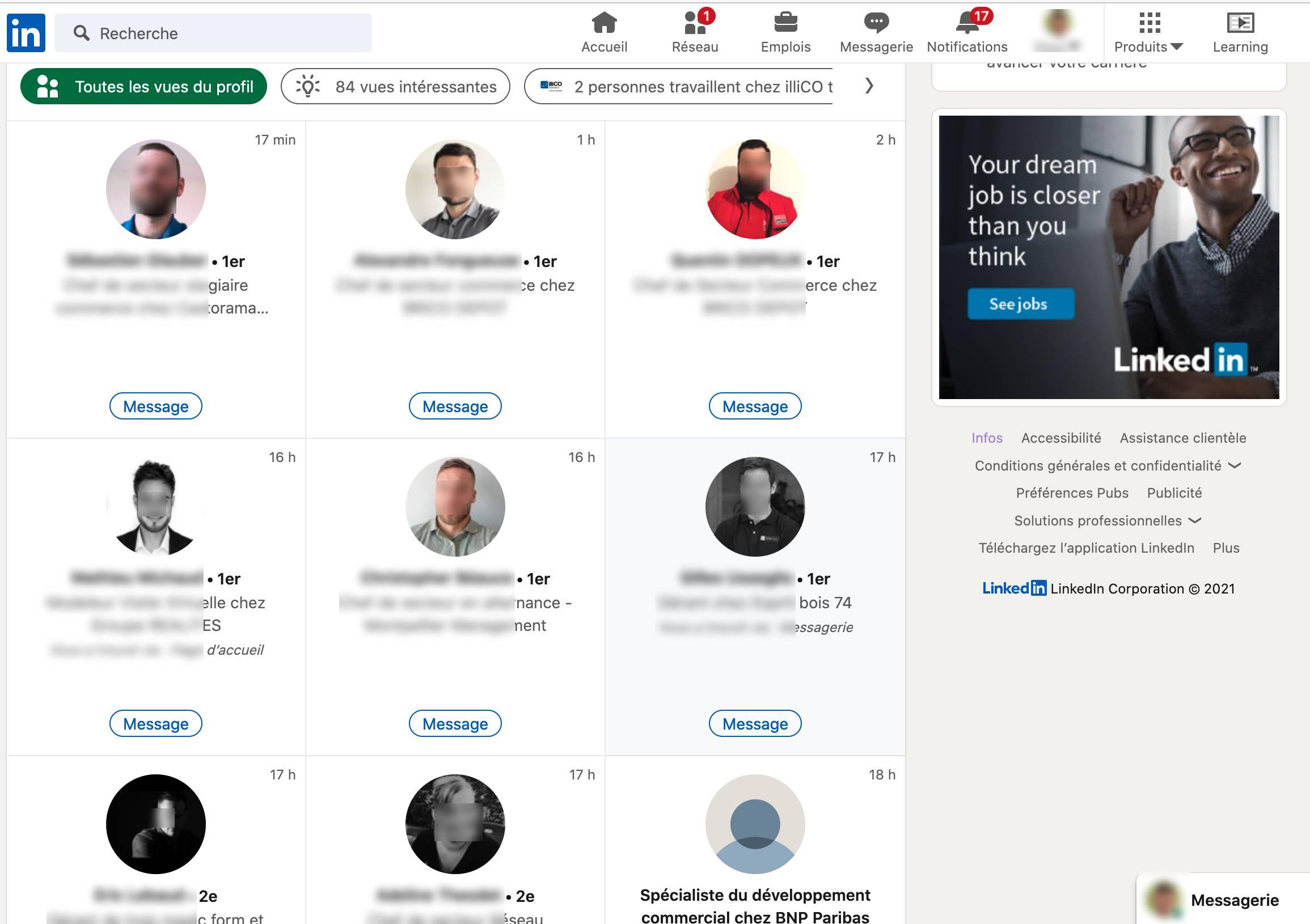 Les vues de votre profil Linkedin avec la version Premium.